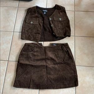 Suede top and jeans skirt set